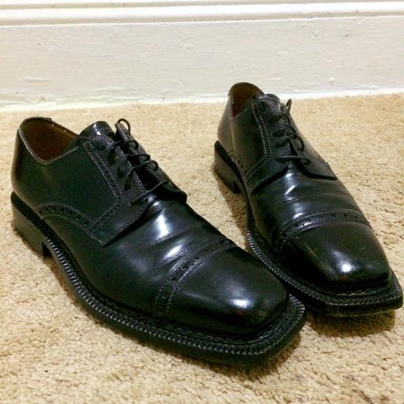 LIDFORT for BARNEYS Mens UK 10.5 US 11.5 Black Leather Monk Strap Oxfords Shoes